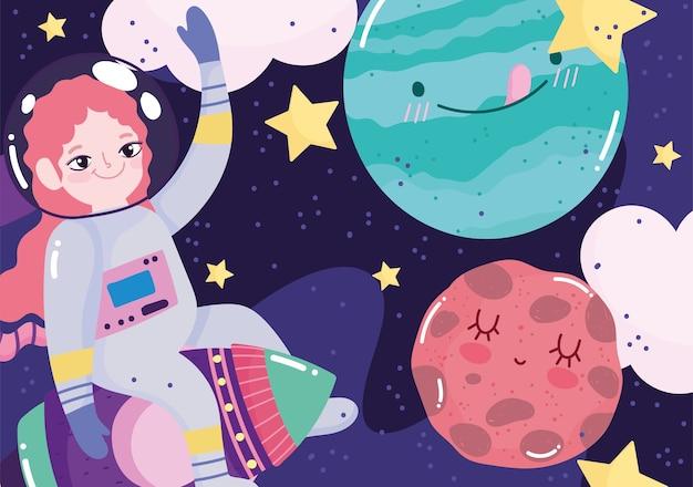 Mädchen astronaut auf raketenplaneten sterne weltraum abenteuer galaxie cartoon illustration