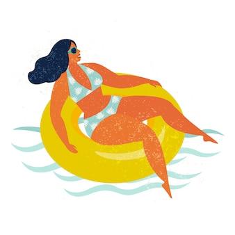 Mädchen auf aufblasbarer swimmingpoolfloss vektorillustration.