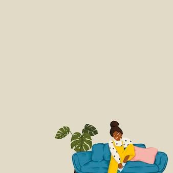 Mädchen auf couch grünem hintergrund vektor niedliche lifestyle-zeichnung mit designraum