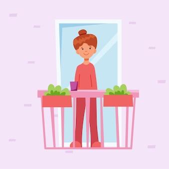 Mädchen auf dem balkon. vektorillustration im flachen stil