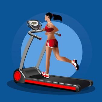Mädchen auf dem laufband. laufendes mädchen. fitness-design.