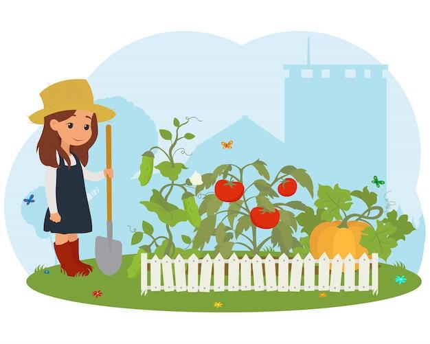 Mädchen auf der farm, die für gemüse sorgt.