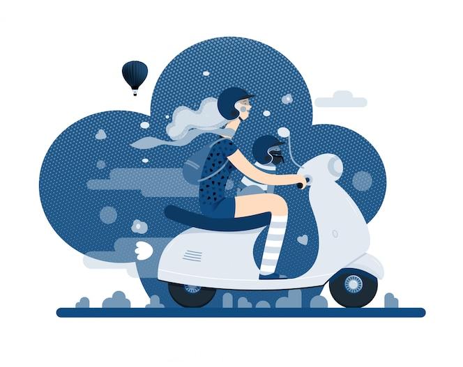 Mädchen auf einem roller auf klassischer blauer farbe