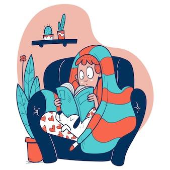 Mädchen auf einer couch, die ein buch liest