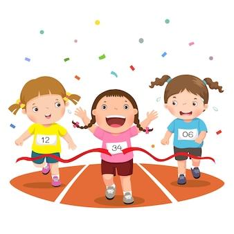 Mädchen auf einer rennstrecke isoliert auf weiß