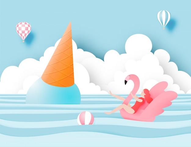 Mädchen auf flamingoschwimmring mit schöner strand- und eiscremeillustration
