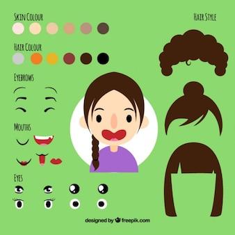 Mädchen avatar mit ergänzungen kit