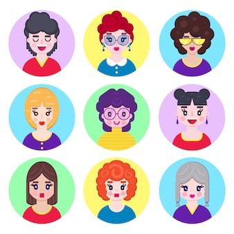 Mädchen avatare in flachen stil