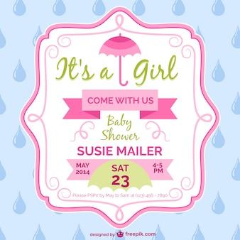 Mädchen baby-dusche-karte template-design