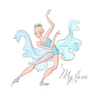 Mädchen ballerina ballett. ein tänzer in einem blauen kleid. meine liebe. inschrift.