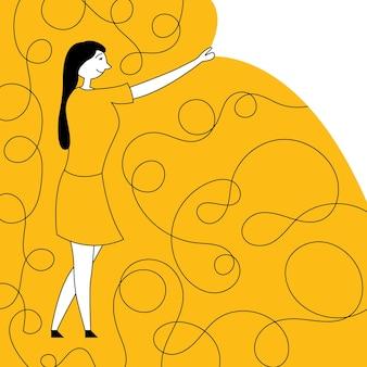 Mädchen beginnt leben kratzer welter neujahr neues leben neujahr verspricht zukunftsplanung