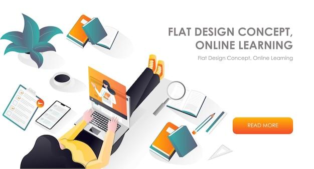 Mädchen bei der arbeit und online-kurs im flat design