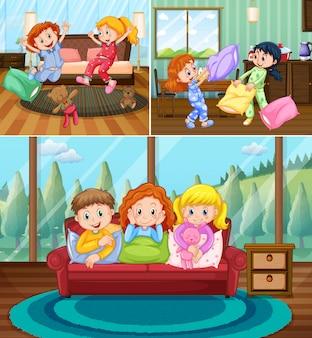 Mädchen bei pyjamaparty im haus