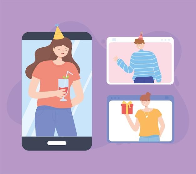 Mädchen beim treffen mit freunden, partei der selbstisolation verbundenes smartphone-vektorillustration