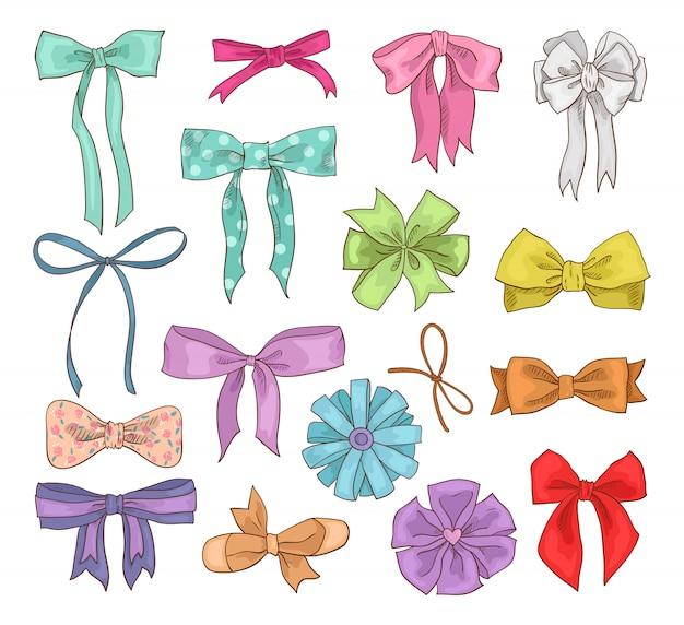 Mädchen bogenvektor mädchenhafter bogenknoten oder mädchenband auf haar oder zum verzieren von geschenken auf birtrhday illustrationssatz von gebogenen oder bandgeschenkten geschenken an feiertagsfeier