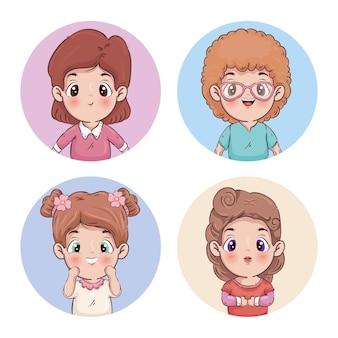 Mädchen cartoons gruppenillustration
