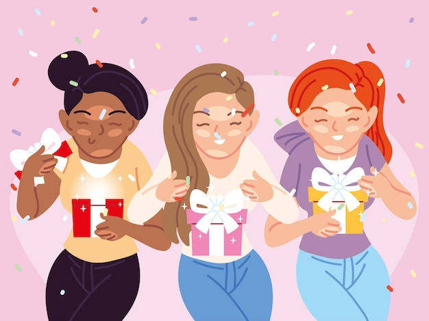Mädchen cartoons öffnen geschenke design, alles gute zum geburtstag feier dekoration party festlich und überraschungsthema illustration