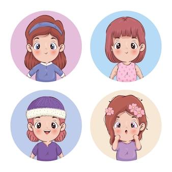 Mädchen cartoons sammlung illustration