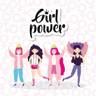 Mädchen cartoons von macht und stark