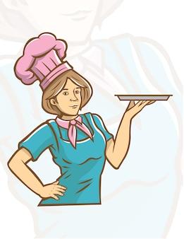 Mädchen-chef-maskottchen