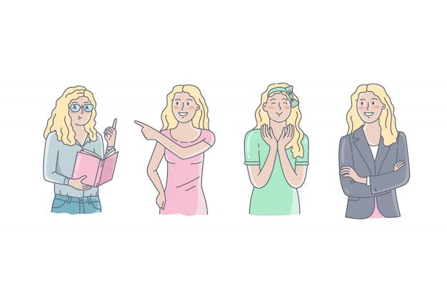 Mädchen darstellen. handgezeichnete stil