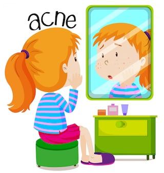 Mädchen, das acnes im spiegel betrachtet