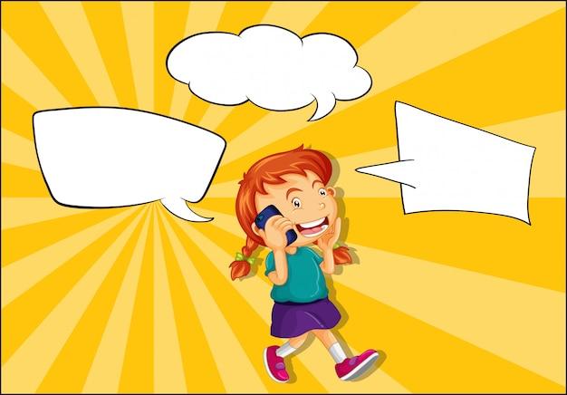 Mädchen, das am telefon mit spracheballon spricht