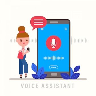 Mädchen, das am telefon spricht. persönlicher assistent und spracherkennungskonzept. flache designvektorillustration.
