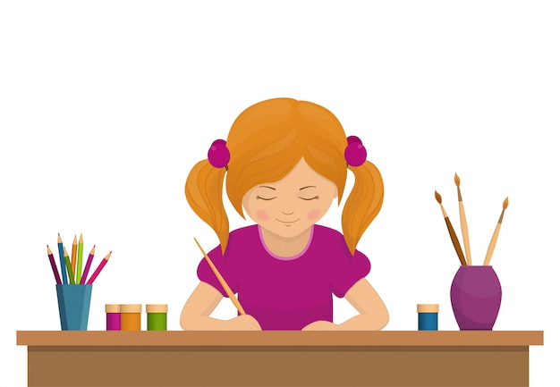 Mädchen, das am tisch sitzt und zeichnet. kind zeichnet, junger künstler.