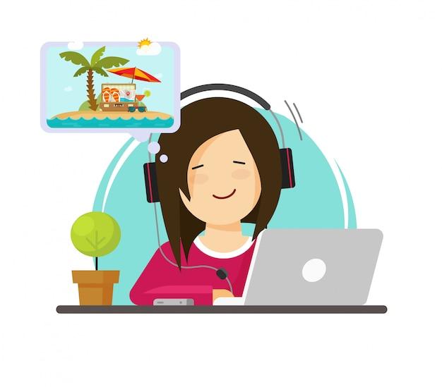 Mädchen, das an computer arbeitet und vom sommerabenteuer oder -berufung reist flaches karikaturdesign träumt