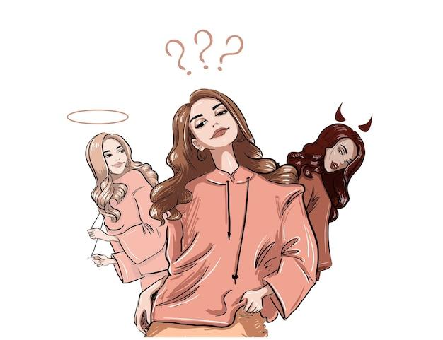 Mädchen, das an dunkle und helle illustration denkt