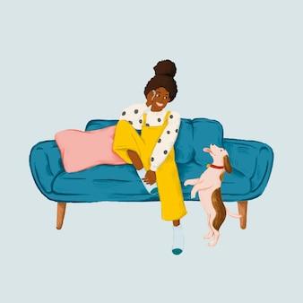 Mädchen, das an einem telefon auf einem blauen couchskizzenartvektor spricht