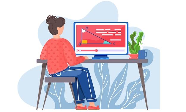 Mädchen, das an einem tisch sitzt, der monitor mit rückansicht der geometrieaufgabe betrachtet. vektorbild eines charakters im klassenzimmer oder zu hause.