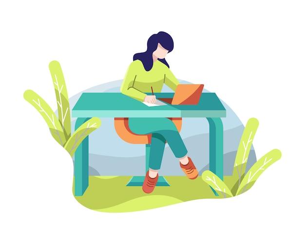 Mädchen, das an laptop in der bürovektorillustration arbeitet
