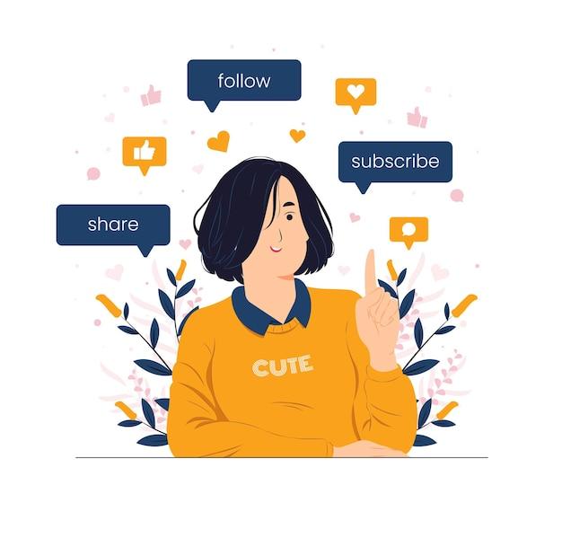 Mädchen, das auf abonnieren, folgen und teilen als social media influencer-konzeptillustration zeigt