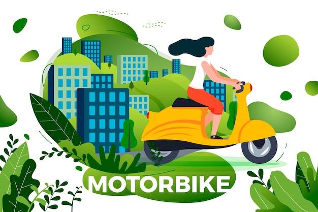 Mädchen, das auf dem motorrad reitet. park, stadt, bäume und hügel hintergrund. banner, website, postervorlage