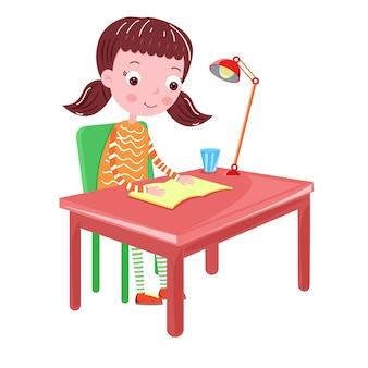 Mädchen, das auf dem tisch eine buchvektorillustration liest