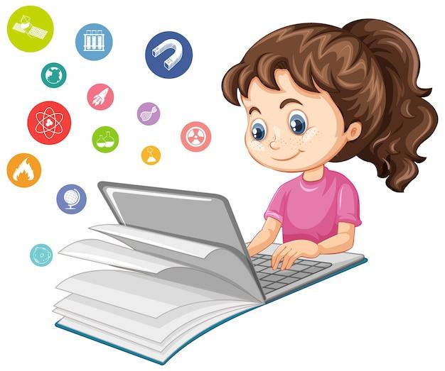 Mädchen, das auf laptop mit bildungsikonen-karikaturstil lokalisiert auf weißem hintergrund sucht
