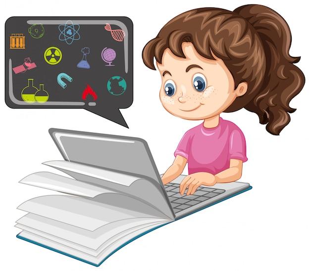 Mädchen, das auf laptop mit karikaturstil der bildungsikone lokalisiert auf weißem hintergrund sucht