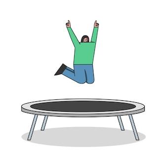 Mädchen, das auf trampolin springt. weibliche zeichentrickfigur, die spaß auf gartentrampolin hat