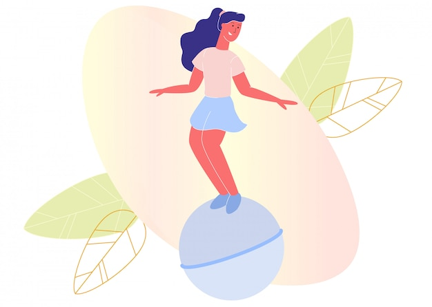Mädchen, das auf trichter-ball-karikatur springt oder aufprallt