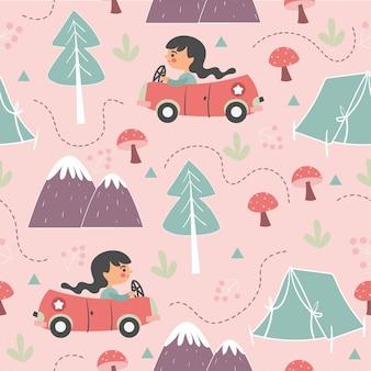 Mädchen, das auto im waldnahtlosen muster fährt