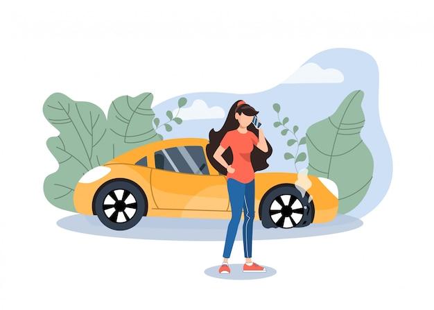 Mädchen, das auto / pannenhilfe um hilfe ruft