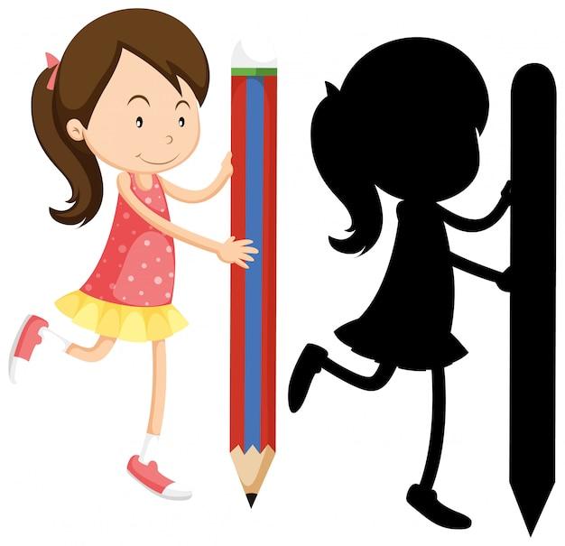 Mädchen, das bleistift in farbe und schattenbild hält