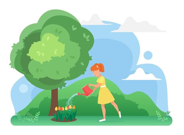 Mädchen, das blumen im bauernhofgarten gießt, der tulpenpflanzen anbaut, glückliche kindergärtnerpflanzung