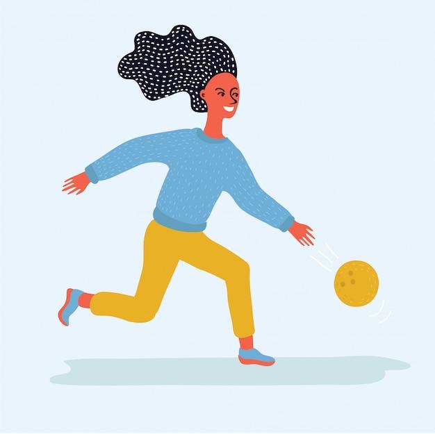 Mädchen, das bowlingkugel an der stiftillustration wirft