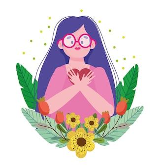 Mädchen, das brillenkarikaturfigur selbstliebesillustration trägt