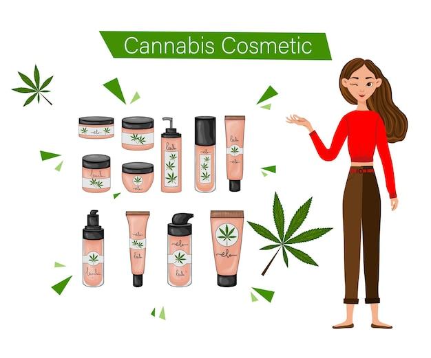 Mädchen, das cannabiskosmetik verwendet. cartoon-stil. vektor-illustration.