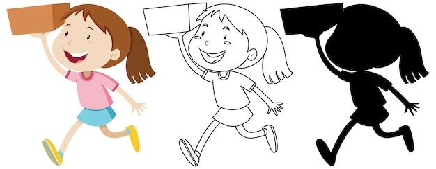 Mädchen, das die box mit seinem umriss und der silhouette hält