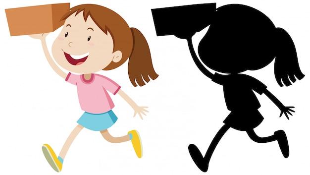 Mädchen, das die box mit seiner silhouette hält